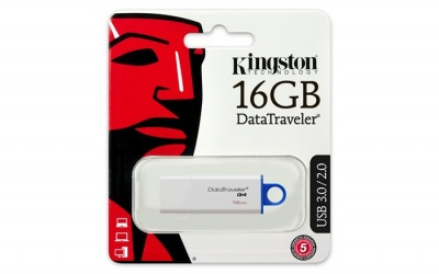 "Pendrive, 16GB, USB 3.0, KINGSTON ""DTI G4"", kék"